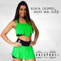 Regata Cropped + Shorts Saia Gode Fitness Academia Promoção