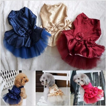 Roupa Vestido Rosa Saia Com Laço Pet Cachorro Gato Pequeno