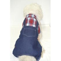 Roupa Jardineira Cachorro Roupinha Cães Pet Jeans E Xadrez