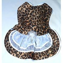 Vestido Oncinha Plush- Roupinha Cachorro Gato Pet Cães Fêmea
