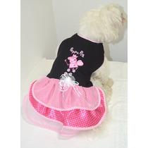 Roupa Vestido Peppa Pig Rosa Laço Cachorro Roupinha Cães Pet
