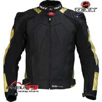 Jaqueta De Couro Texx New Rock Branca/preta/dourada