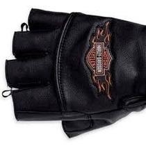 Luvas Harley Davidson Couro Meio Dedo Motocicleta Tamanho