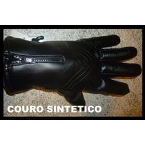 Luva Couro Sintetico Moto Motoquero Motociclista Motoboy Etc