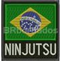 Bbr290 Ninjutsu 9cm Bandeira Brasil Outras Patch Br Bordados