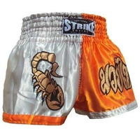 Shorts Muay Thai Kick Boxing - Prata Com Laranja - P