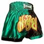 Shorts Muay Thai Kick Boxing - Preto Com Verde - M
