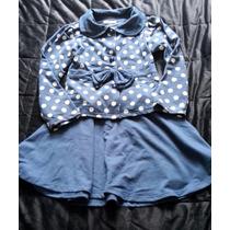 Conjunto Saia Casaco Azul Bolinhas Brancas Poa 08
