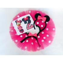 Conjunto Fantasia Tutu Minnie Rosa Pink Personalizado Festa