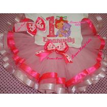Fantasia Moranguinho Baby Morango Luxo Fitas Personalizada