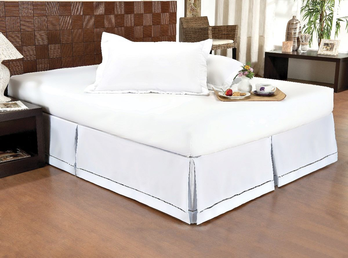 Saia para cama box queen gorgur o com ponto palito r 62 for Tipos de camas queen