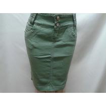 Saia Jeans Color - Laura Rosa - Moda Evangélica Frete Gratis