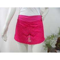 Saia Short Saia Renda Croche Tricot Azul Rosa Branco Shorts