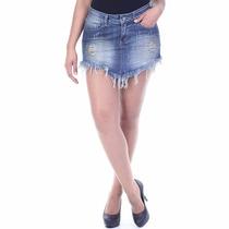 Kit Saia Short Jeans Desfiada Destroyed Lote Com 2 Unidades
