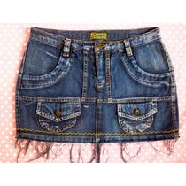 Mini Saia 38 Jeans Com Barrinha Desfiada Estilizada