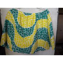 Mini Saia De Malha Evasê Estampa Verde, Amarela E Branca