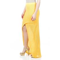 Saia Tricot Longa Transpassada Amarela Para Mulheres Altas