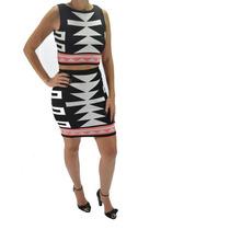 Blusa + Saia Cropped Estampa Etnica Blogueira Moda Conjunto
