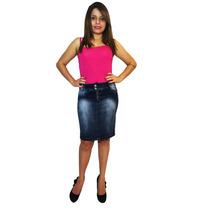 Saia Jeans Lápis Casual - Mix Jeans