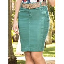 Saia Jeans Colorida - Laura Rosa Tam 44(xg) 46(xxg) 48(g1)