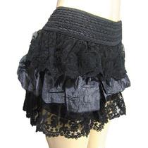 Mini Shorts Saia Renda Trabalhada Elastico Cintura Novidade