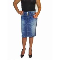 Saia Jeans Secretária Casual Com Bordado - Mix Jeans