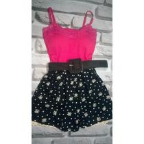 Conjunto Feminino Shorts Barra De Renda + Blusinha + Cinto