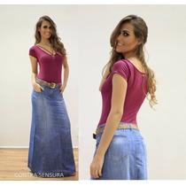 Saia Jeans Longa Com Cinto