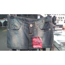 Mini Saia Riffel Jeans Tamanho 38