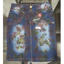 Saias Evangélicas Floral Jeans E Bolinhas Ref 149