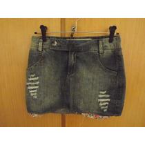 Mini Saia Jeans Com Desfiados Hering Tamanho P No. 36/26