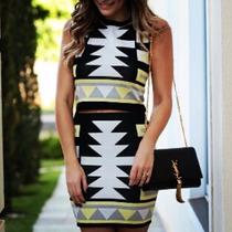 Blusa Saia Cropped Estampa Etnica Blogueira Moda Conjunto