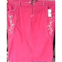 Saia Jeans Grande Color Longa Bordada Evangélica Barato54,90