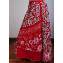 Saia Kari -dupla Face -indiana Longa -saia Envelope Vermelha