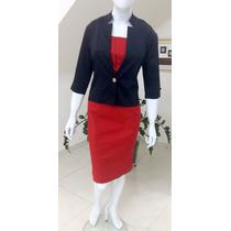 Vestido Moda Evangelica M. De Maria Tam 40(g) Com Spencer
