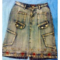 Saia Jeans Média Via Fashion Tamanho 42