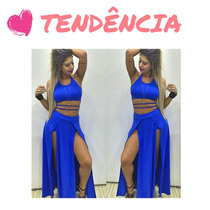 Conjunto Viscolycra Saia Com Fenda lateral E Top Cropped