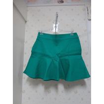 Saia Verde Esmeralda - Em Tecido - Rodada Com Babado