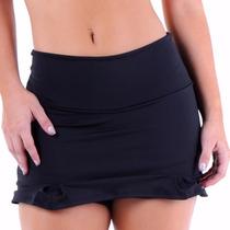 Shorts Saia Feminino Acinturado S/ Babado Viscolycra Fitness