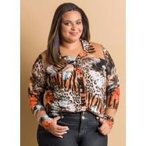 Camisa Plus Size Feminina Animal Print / Roupa G Gg Xxg Xlg