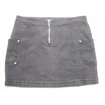 Mini Saia Jeans Preta Tam 42 Bom Estado Com Strech