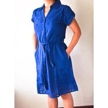 Vestido Azul Escuro Em Algodão - Indiano - De Botões
