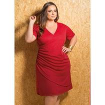 Vestido Decote V Transpassado Vermelho Plus Size