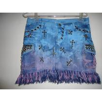 Saia Jeans Customizada Com Tachas E Spikers Em Tie Dye!!!