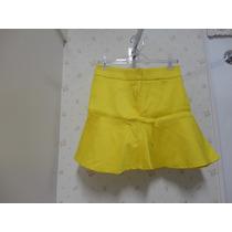 Saia Amarela - Em Tecido - Rodada Com Babado