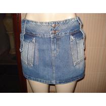 Mini Saia Em Jeans Da Hand Book C/ Bolsos Chapados Tam M