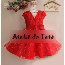 Vestido De Festa Vermelho Com Laço Lindíssimo Infantil 2-12