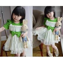 Vestido Lindíssimo Lilás Ou Verde Com Laço E Saia Tutu 9m-2a