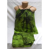 Conjunto Saia E Blusa Vintage Algodão Tingido Hippie Verde