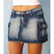 Mini Saia Jeans Lavagem Curto Desfiado Sexy